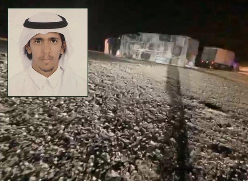 شاب يُبادر بتنبيه المارة بوقوع حـادث في منطقة مُظلمة على أحد طرق الأفلاج
