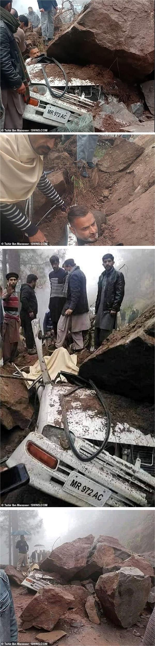 باكستاني ينجو من سقوط صخرة وزنها طن على سيارته مما أدى إلى تحطيمها بالكامل