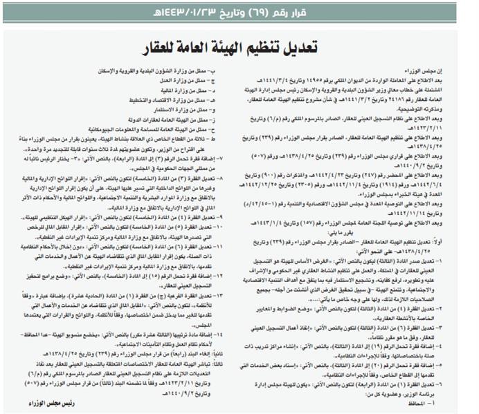 أبرز تعديلات تنظيم الهيئة العامة للعقار