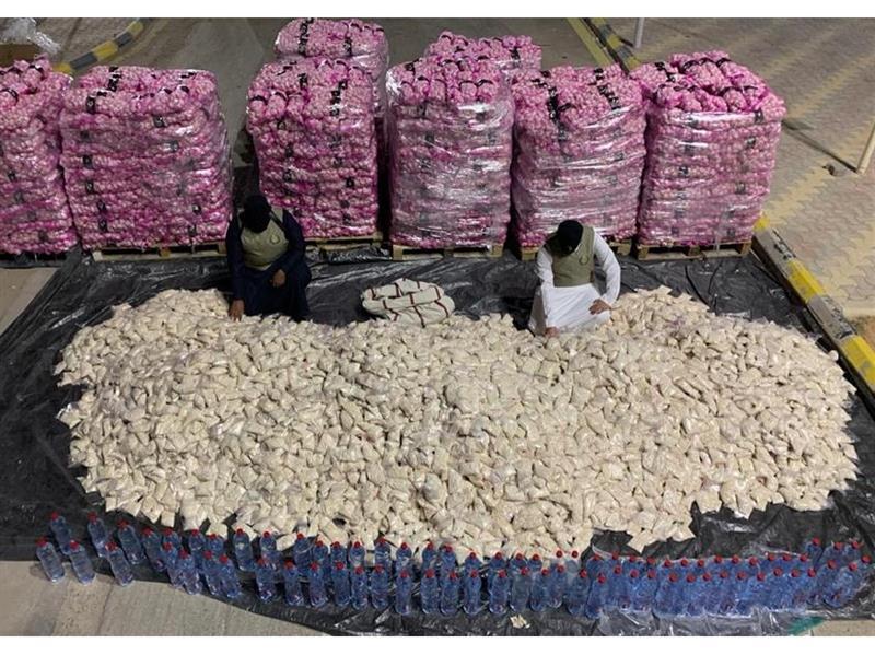 """إحباط تهريب أكثر من 11 مليون قرص أمفيتامين مخدر مخبأة داخل شحنة """"ثوم"""""""