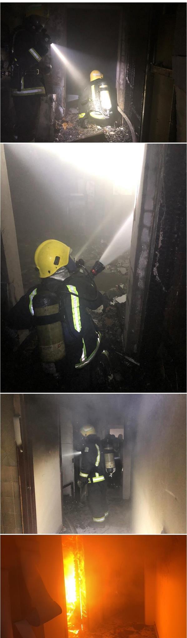 """""""الدفاع المدني"""" يخمد حريقاً اندلع في شقة سكنية بالعاصمة المقدسة"""