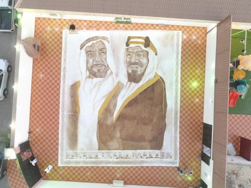 لوحة تضم الملك سلمان ومؤسسي السعودية والإمارات
