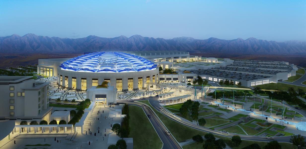 8- مركز عُمان للمؤتمرات والمعارض  المشروع قيد الإنشاء حاليًا، ويُتوقع الانتهاء منه خلال عام 2018م، وسيتألف مركز المؤتمرات من ق