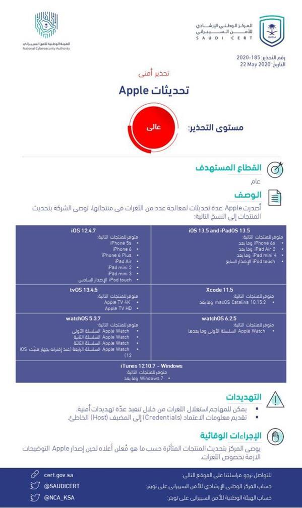 """""""الأمن السيبراني"""" يصدر تحذيراً عالي المستوى بشأن ثغرات أمنية في منتجات """"أبل"""""""
