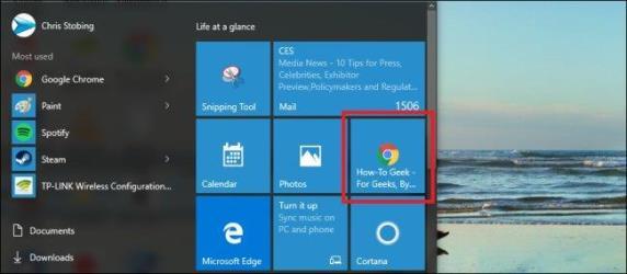 add website links to start menu windows 10