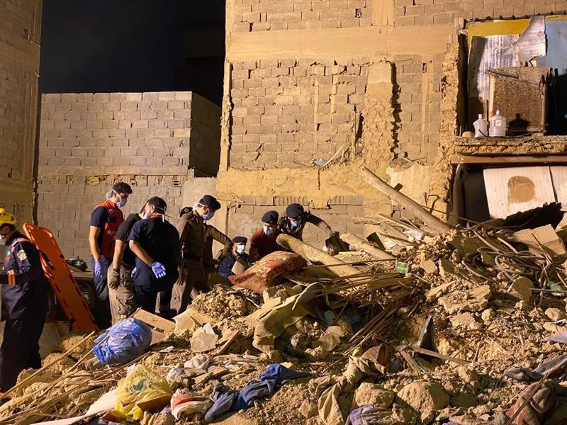 انهيار منزل شعبي في حي عتيقة بالرياض