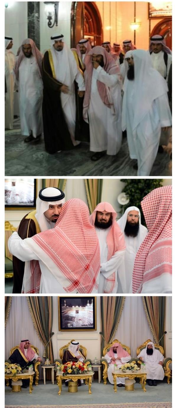 مشعل بن عبدالله يقدم العزاء في وفاة والد الشيخ السديس