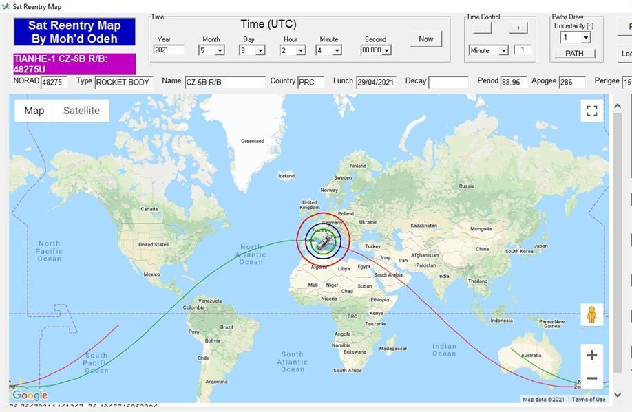 """""""الفلك الدولي"""" يعلن موعد سقوط حطام الصاروخ الصيني.. و4 دول عربية بنطاق الخطر"""