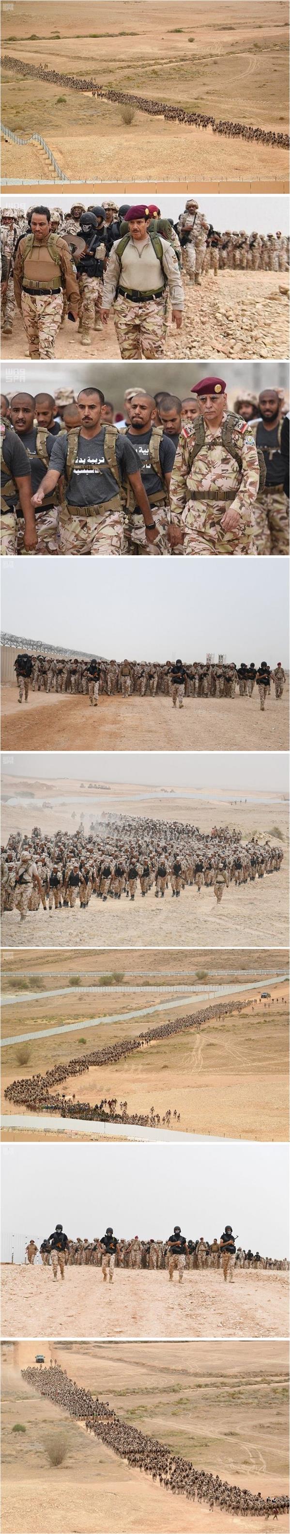 """منظر مهيب لقوات الأمن الخاصة أثناء تنفيذ مشروع """"السير الطويل"""""""