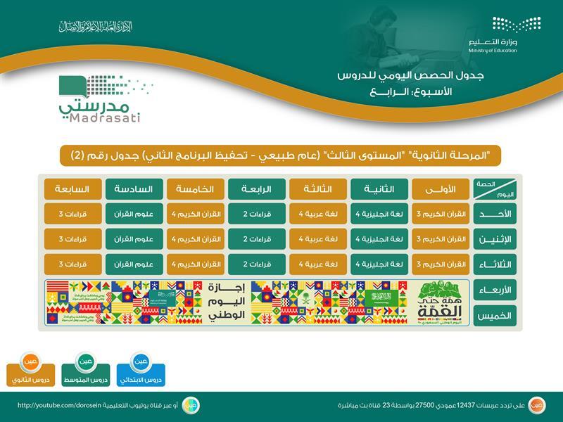 """""""التعليم"""" تنشر جدول الحصص اليومية لجميع المراحل للأسبوع الرابع"""