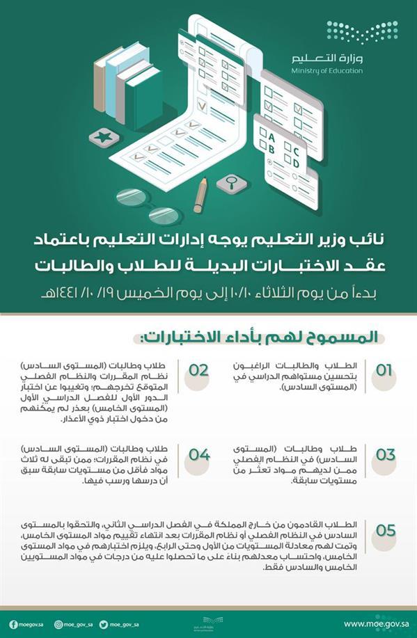 """""""التعليم"""": من 10 إلى 19 شوال موعد الإختبارات البديلة لطلاب وطالبات الصف الثالث ثانوي"""