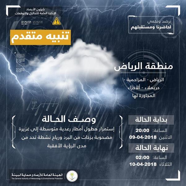 أمطار رعدية مصحوبة بزخات البرد على الرياض