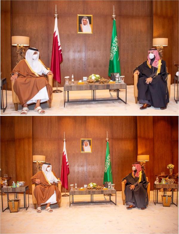ولي العهد يجتمع بأمير قطر في العلا