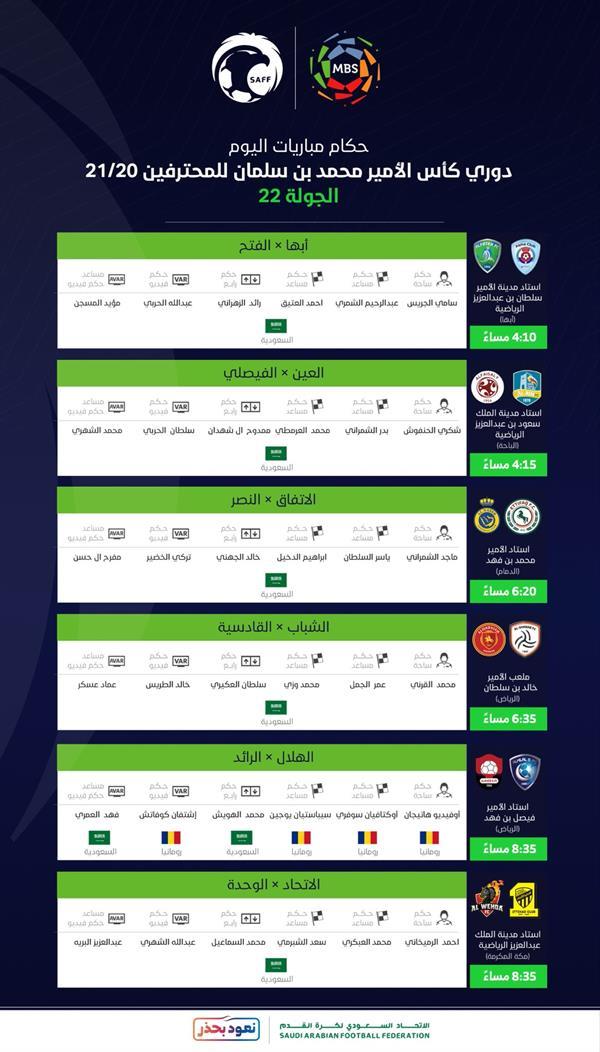 تعرف على تفاصيل وحكام مباريات اليوم من منافسات الجولة الـ 22