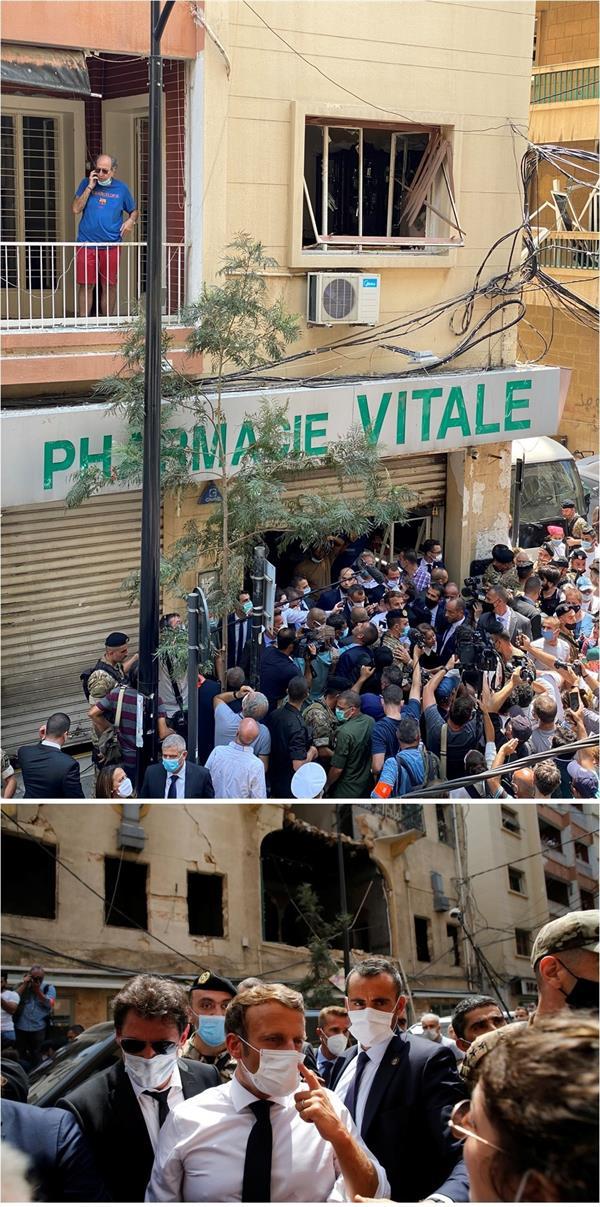 الرئيس الفرنسي يتفقد موقع انفجار بيروت