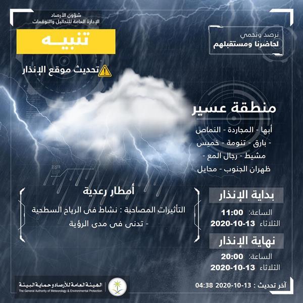 """""""الأرصاد"""" تصدر تنبيهات برياح نشطة وأمطار رعدية على عدد من المناطق"""