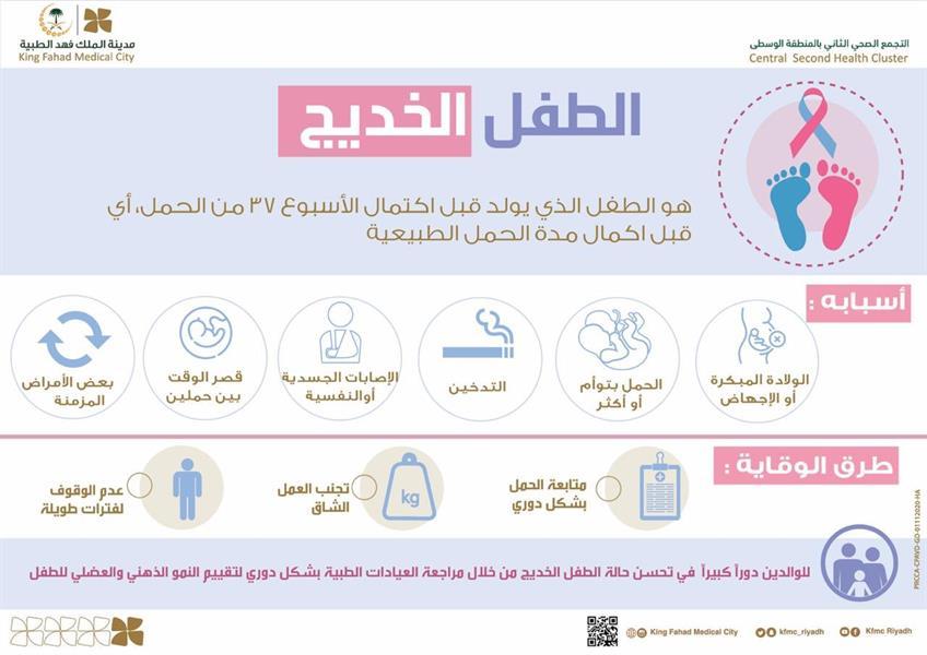 """""""فهد الطبية"""" توضح أسباب الولادة المبكرة وخطورتها على الطفل وطرق الوقاية منها"""