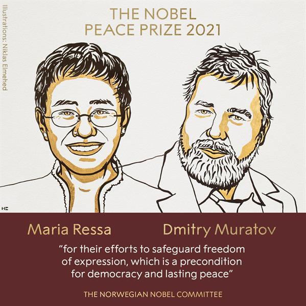 """الصحفية الفلبينية ماريا ريسا تتقاسم جائزة """"نوبل"""" للسلام مع صحفي روسي"""