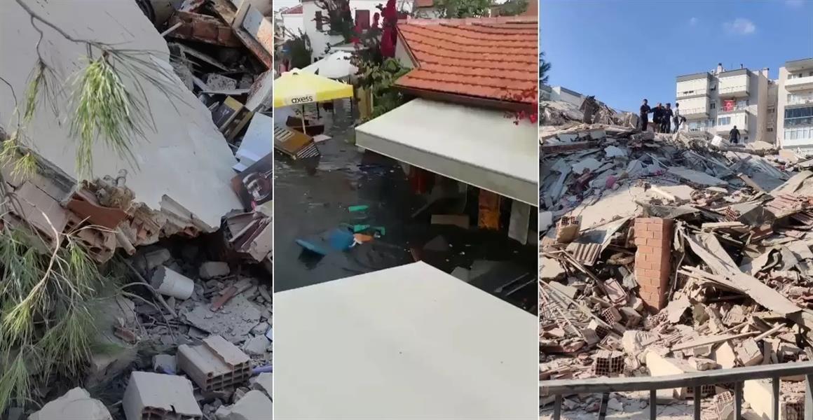 فيديو يوثق لحظة انهيار مبنى ضخم من عدة طوابق في تركيا بسبب الزلزال