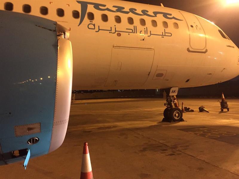 """أثناء عودتها من الرياض إلى الكويت.. اصطدام محرك طائرة """"طيران الجزيرة"""" بمنطاد (فيديو وصور)"""