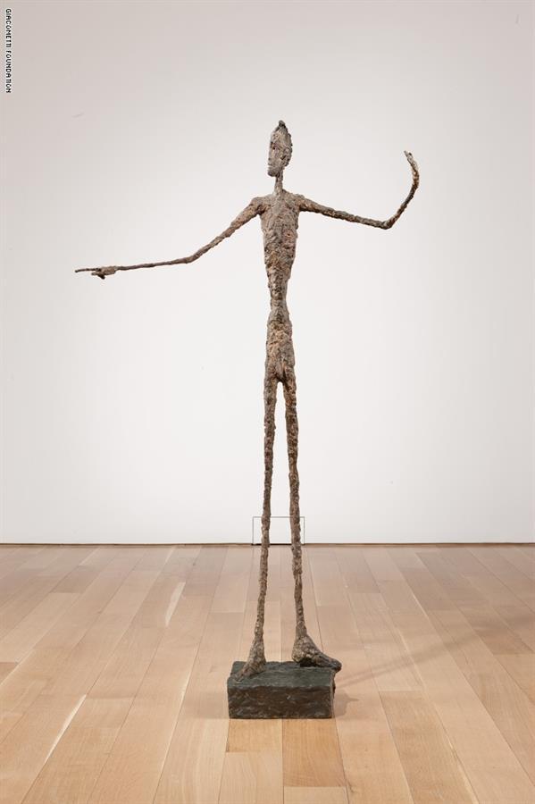"""منحوتة """"L'Homme au doigt""""، للنحات ألبرتو جياكوميتي عام 1947"""