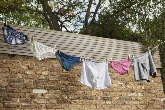 washing underwear in washing machine
