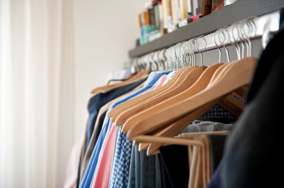 Clothes in a tidy wardrobe