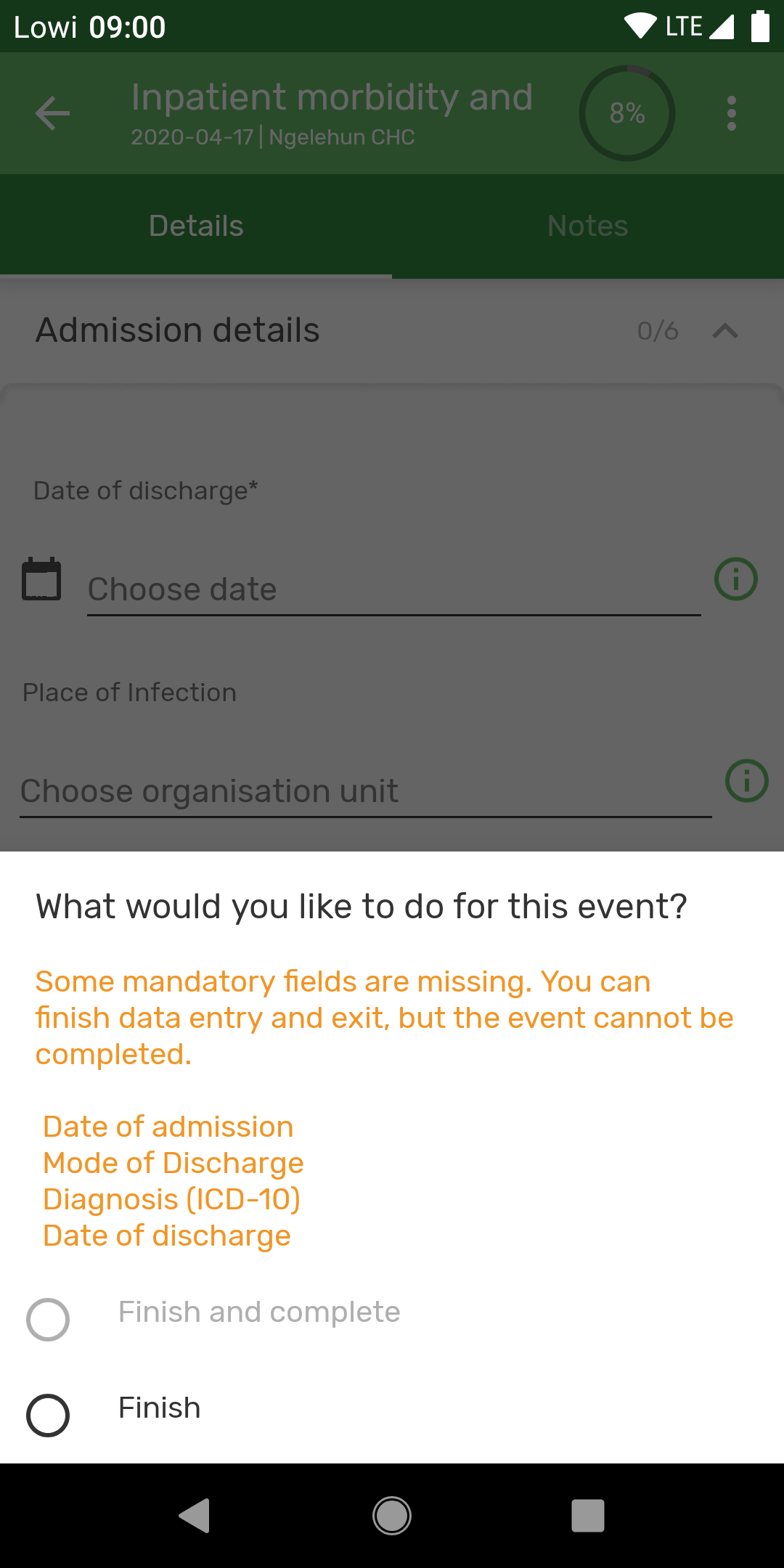 Improved error message when saving event or enrollment