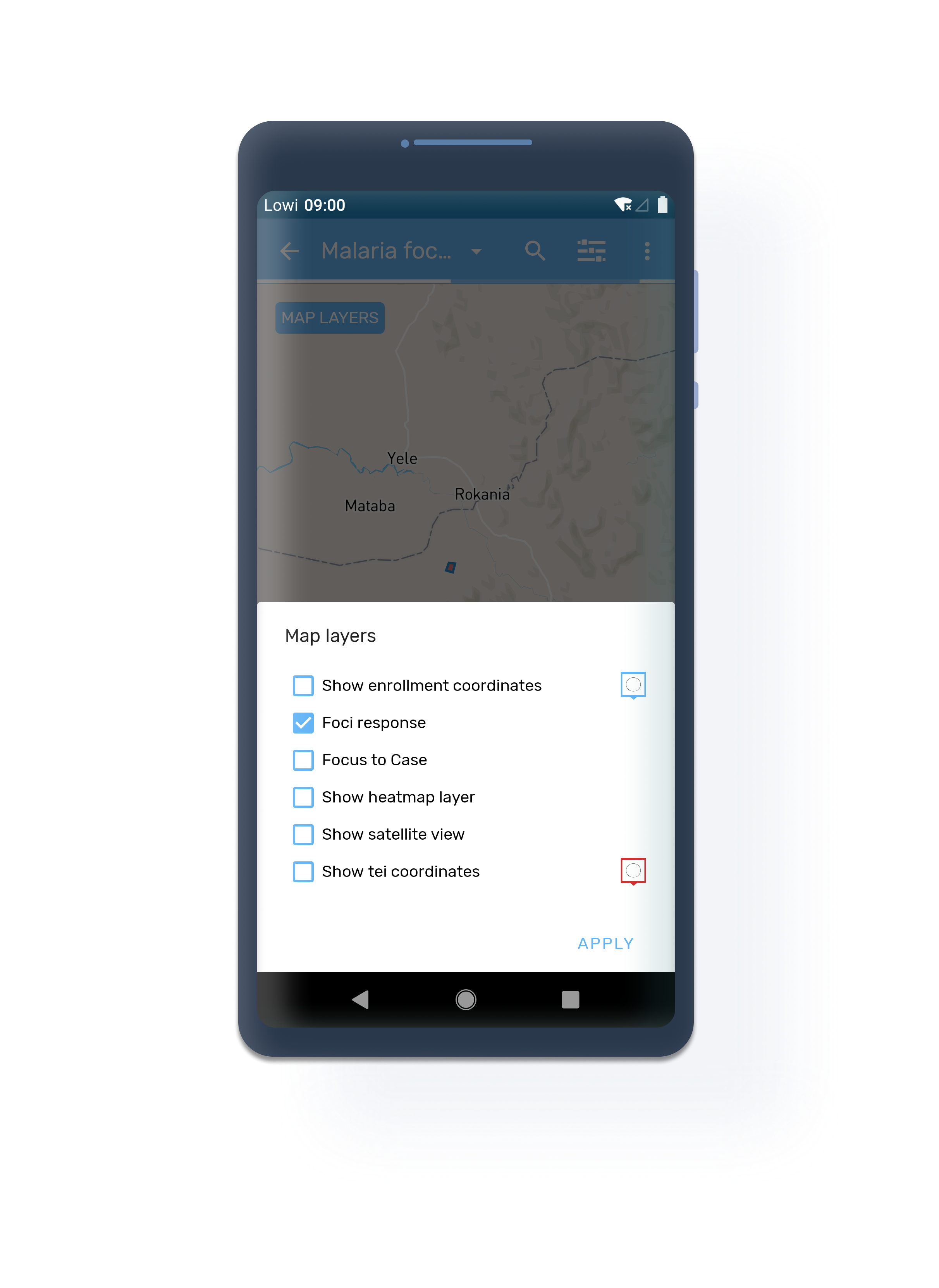 Android Event layer TEI program maps
