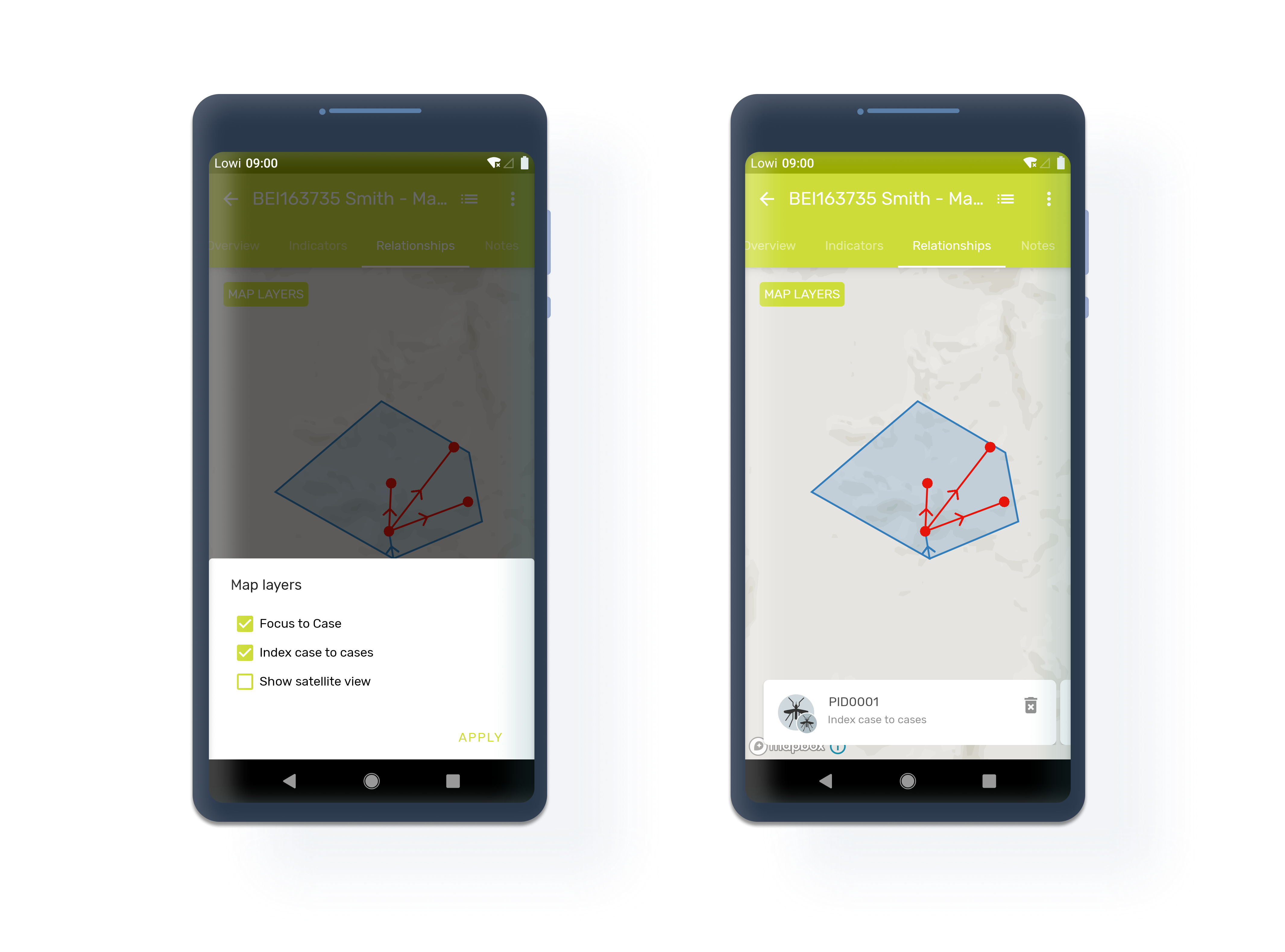 Android display TEI relationships map