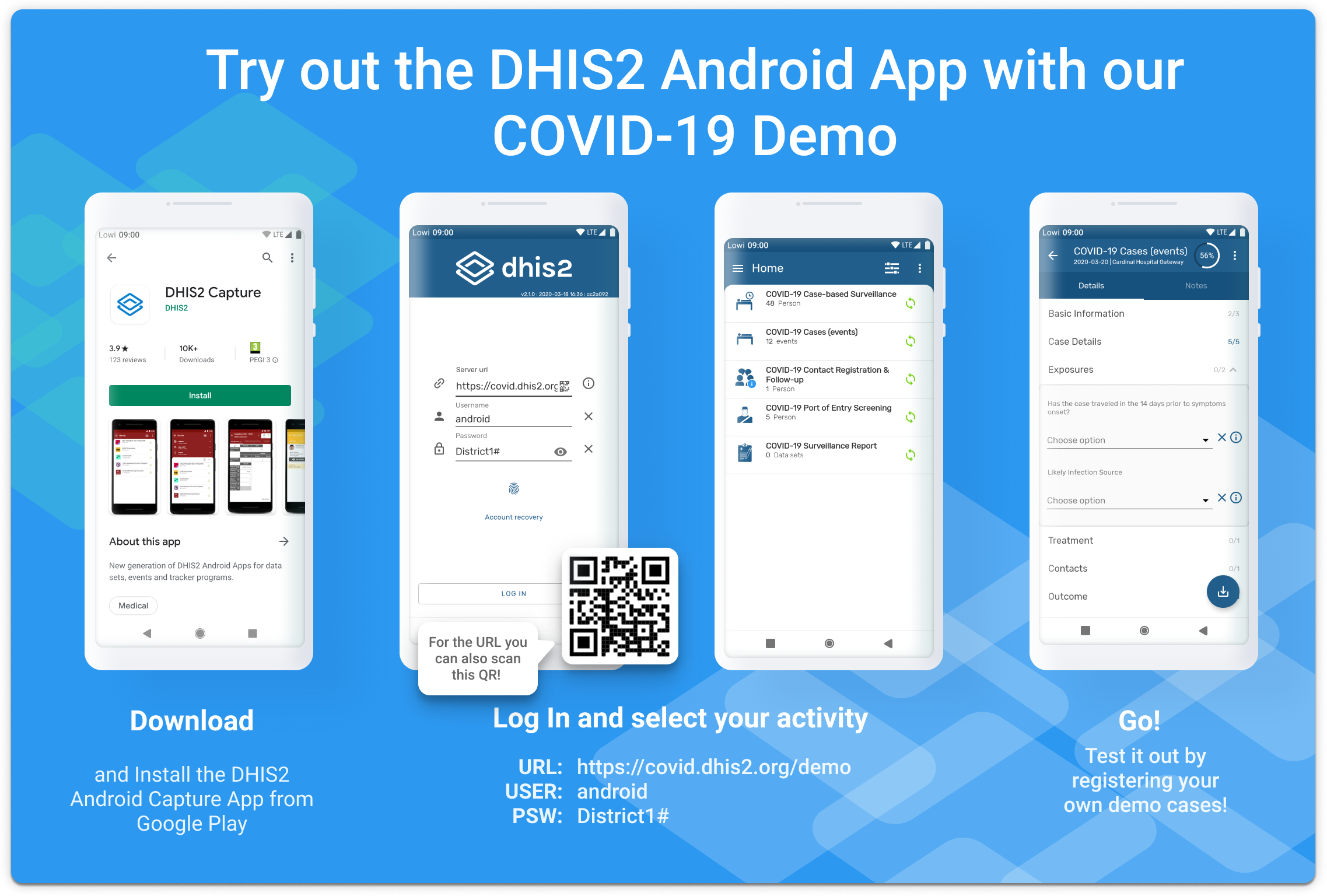 How to test DHIS2 the Covid-19 demo on Android