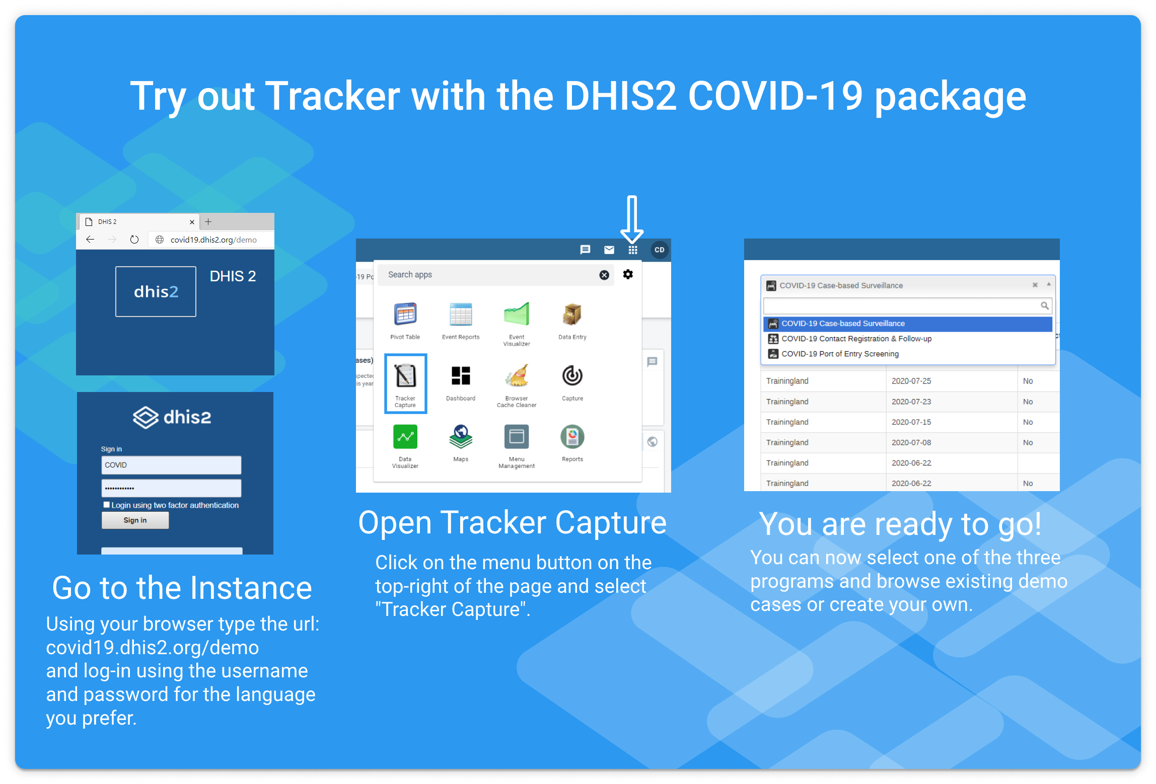 Try out DHIS2 Tracker
