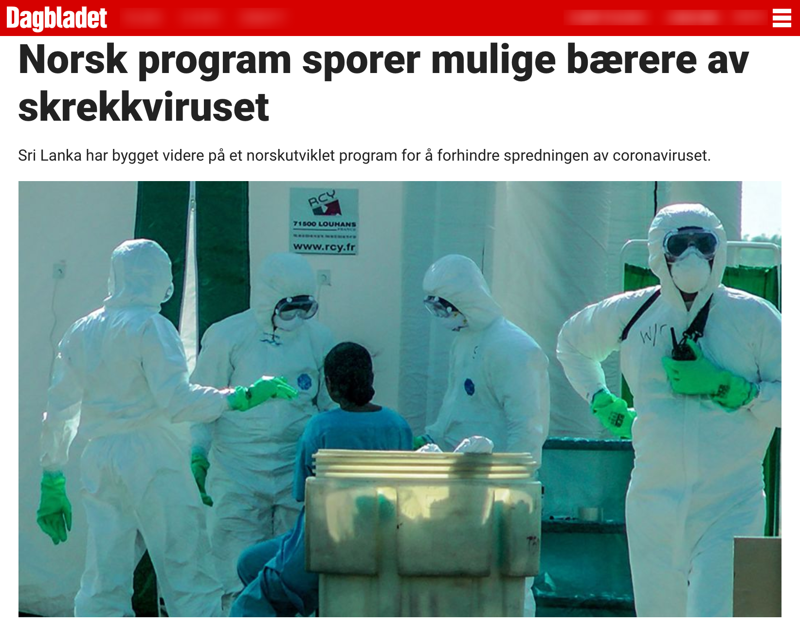 Dagbladet DHIS2 COVID-19 article
