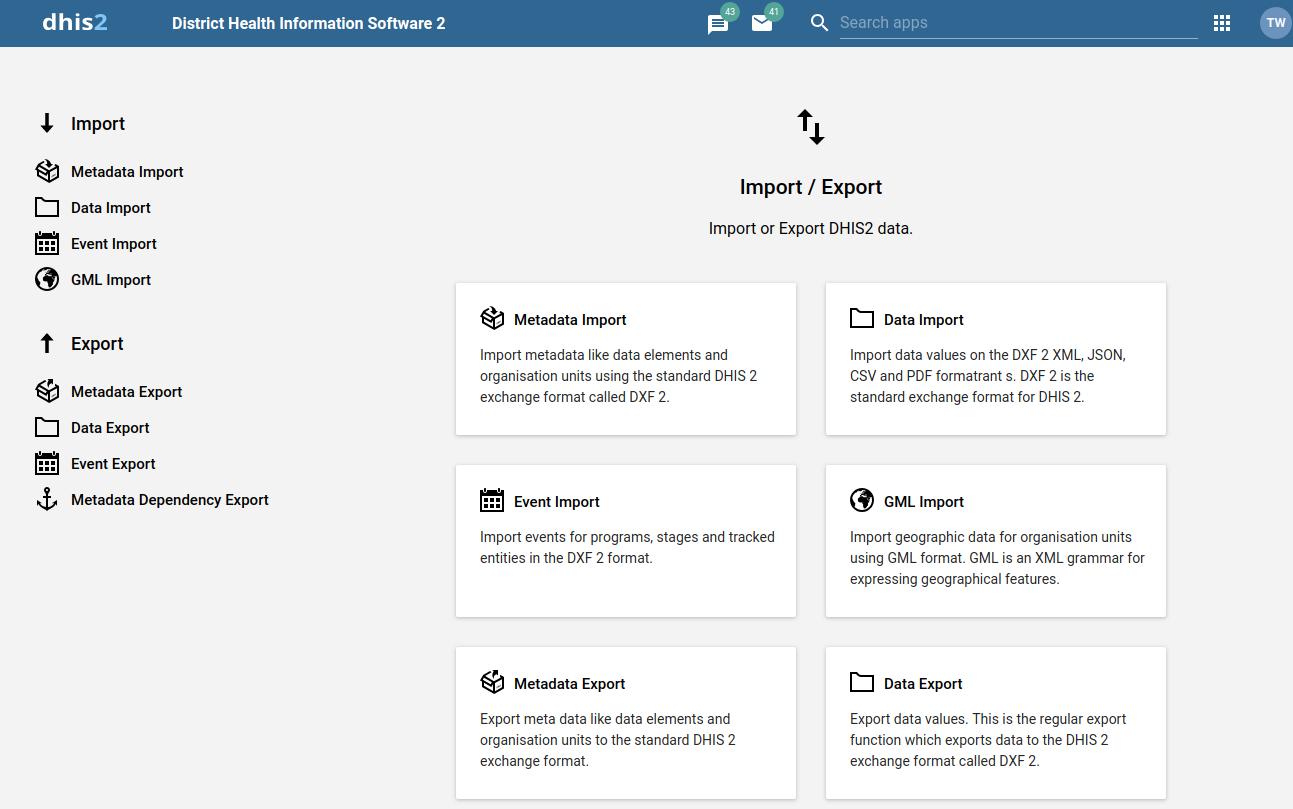 Import-export app