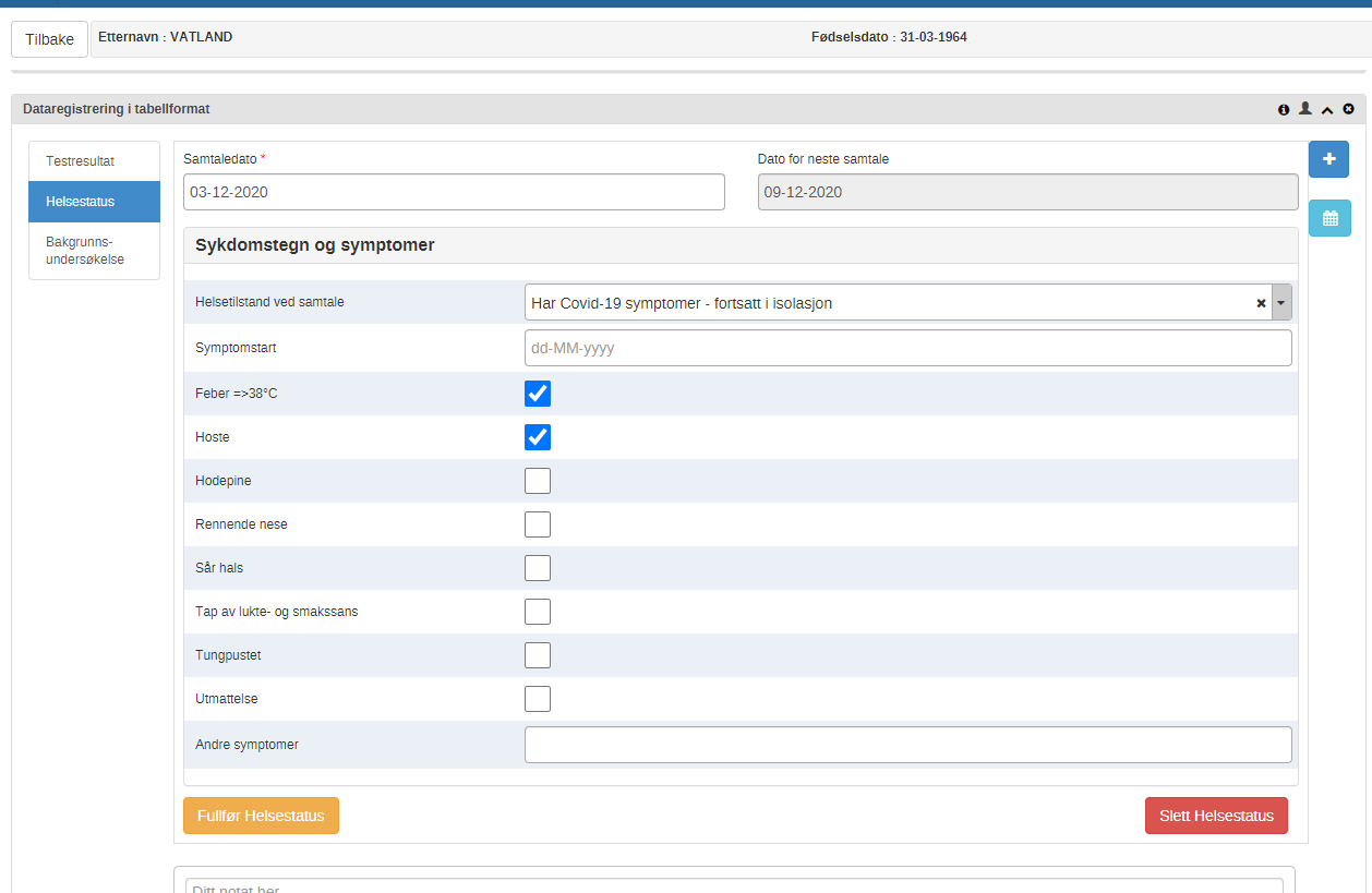 Norway covid tracker data entry