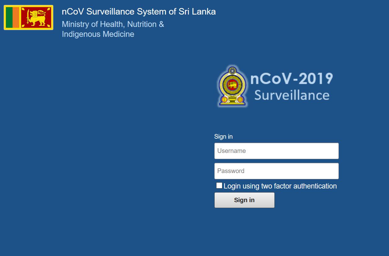 Sri Lanka COVID-19 surveillance system login