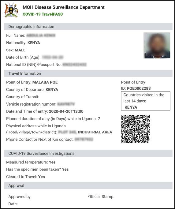 Uganda Covid-19 Port of Entry Screening Traveler Pass