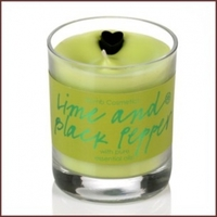 B392 lime black pepper glass candle