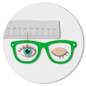 Your pupillary distance measurement will be the figure that lines up with the centre of your right pupil