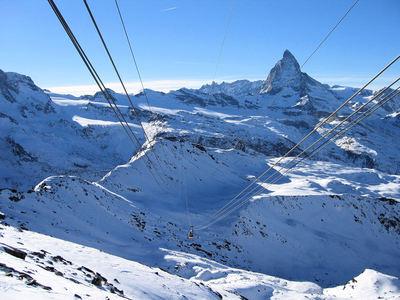 Matterhorn Ski Paradise: CABINE MATTERHORN SKI PARADISE ZERMATT ZWITSERLAND WINTERSPORT SKI SNOWBOARD RAQUETTE SCHNEESCHUHLAUFEN LANGLAUFEN WANDELEN INTERLODGE