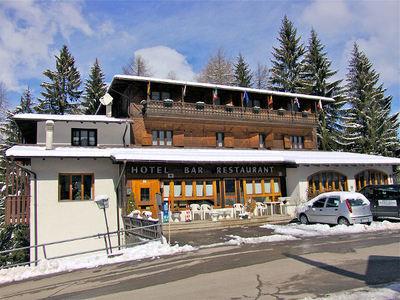 Hotel Vecchia America: BUITENKANT HOTEL VECCHIA AMERICA FOLGARIDA SKIRAMA DOLOMITI WINTERSPORT ITALIE SKI SNOWBOARD RAQUETTES SCHNEESCHUHLAUFEN LANGLAUFEN WANDELEN INTERLODGE