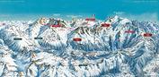 Pays du Mont Blanc: PISTEKAART SKIGEBIED MONT BLANC WINTERSPORT FRANKRIJK INTERLODGE