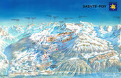 Sainte Foy Tarentaise: PISTEKAART SAINTE FOY TARENTAISE WINTERSPORT FRANKRIJK INTERLODGE