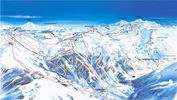 Champagny en Vanoise: PISTEKAART CHAMPAGNY EN VANOISE PARADISKI WINTERSPORT FRANKRIJK INTERLODGE