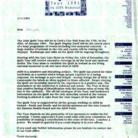 Irish Quilt Tour Letter 1991
