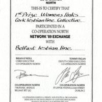 1989 Co-operation North Exchange Prize: Cork Lesbian Line / Belfast Lesbian Line