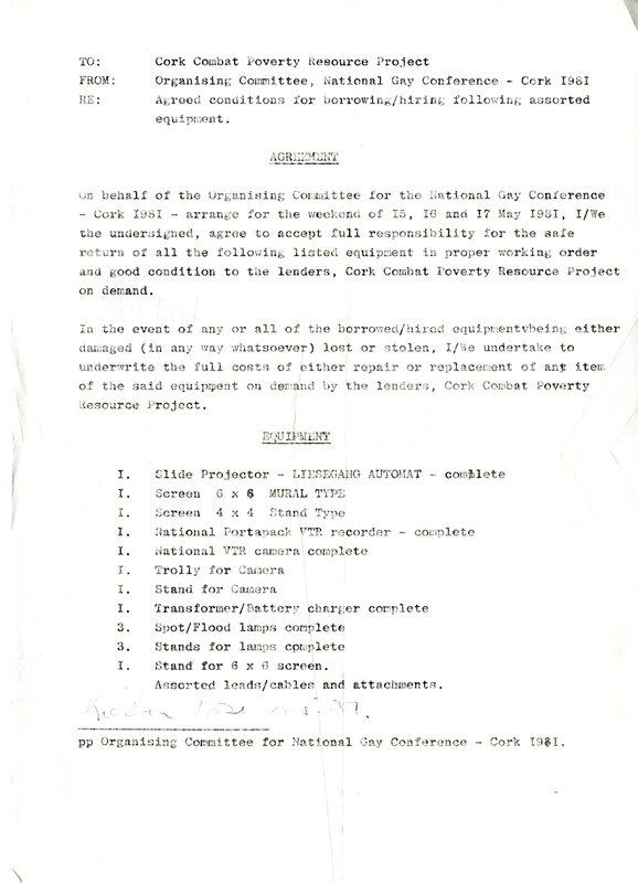 1981CorkGayConferenceEquipmentBorrowed.jpg