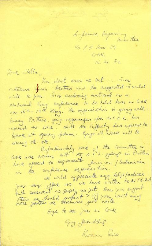 Letter Kieran Rose to Stella 15:4:81 re Cork Gay Conference.jpg