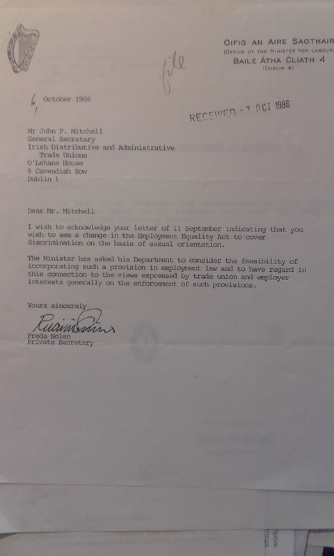 1986 Letter Department of Labour to IDATU re Sexual Orientation in Employment Equality Legislation