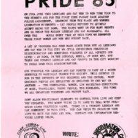 1985 Cork Lesbian & Gay Pride Leaflet